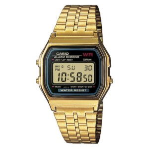 Casio Vintage BLACK AND GOLD WITH DIAMOND LIMITED A159WGEA-1 - zegarek damski