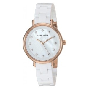 Anne Klein Crystal Accented Ceramic AK3312WTRG - zegarek damski